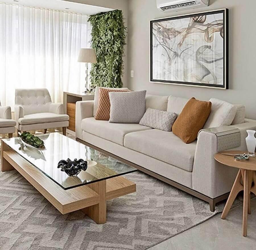 almofadas decorativas para sala de estar decorada em cores neutras Foto Pinterest
