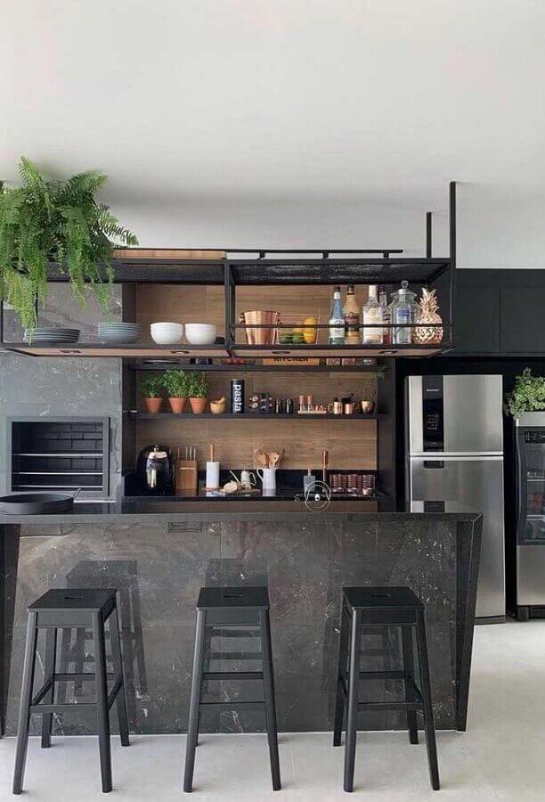 armários pretos para decoração de área gourmet com ilha Foto Home Fashion Trend