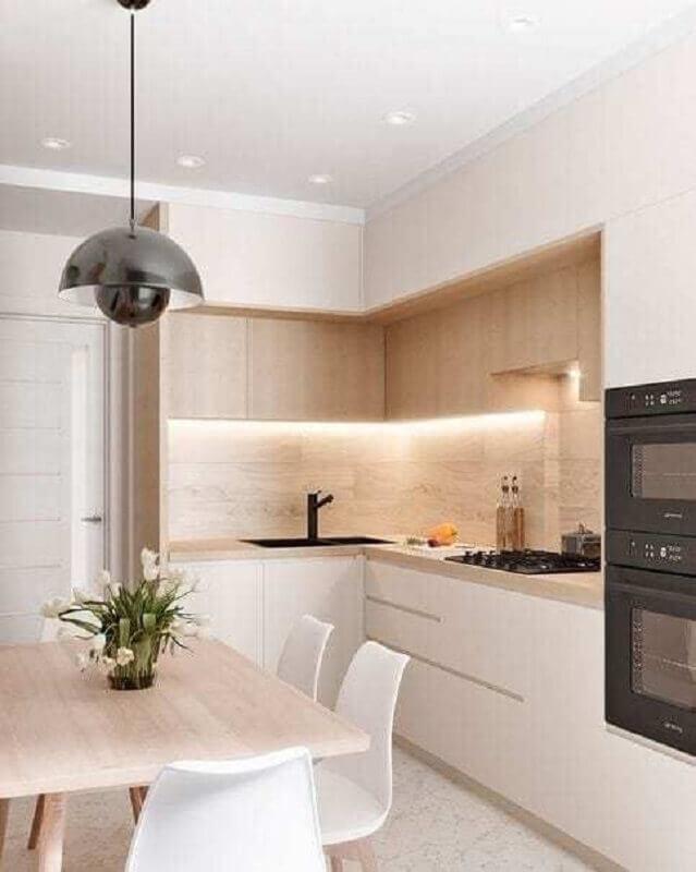 balcão de canto para cozinha branca e amadeirada Foto Fashion Bubbles