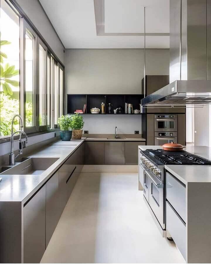 balcão de canto para cozinha moderna decorada com ilha Foto Maurício Karam Arquitetura