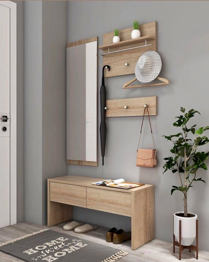 banc et porte-manteau en bois gris pour la décoration de la salle Foto Pinterest
