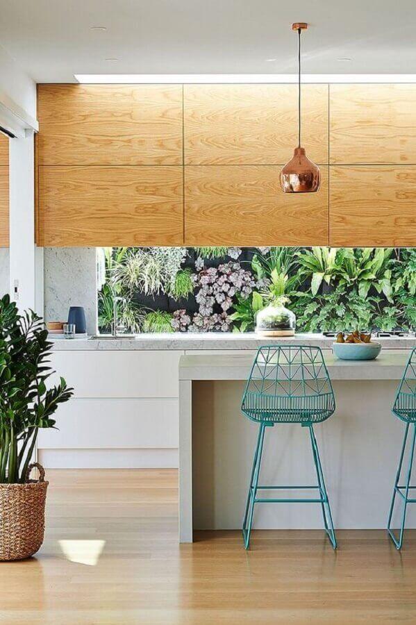 banqueta aramada azul para decoração de área gourmet moderna Foto Decostore