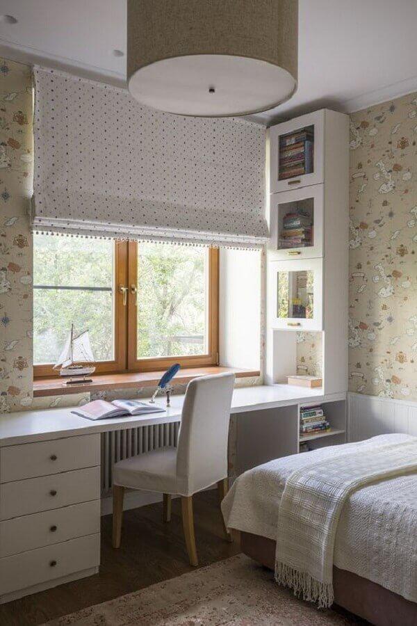cadeira decorativa para quarto feminino planejado com bancada de trabalho Foto Pinterest