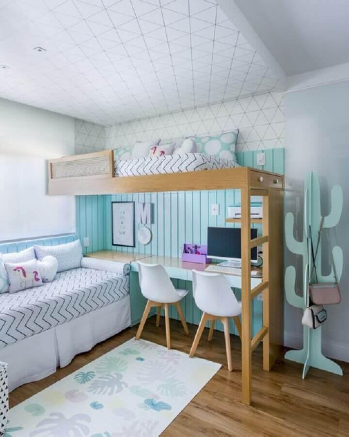 cadeira para quarto feminino duplo decorado com cama suspensa Foto Pinterest