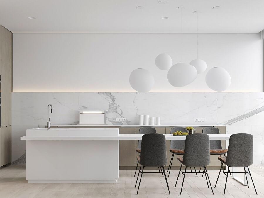 cadeiras cinza para decoração de cozinha minimalista branca Foto Home Fashion Trend