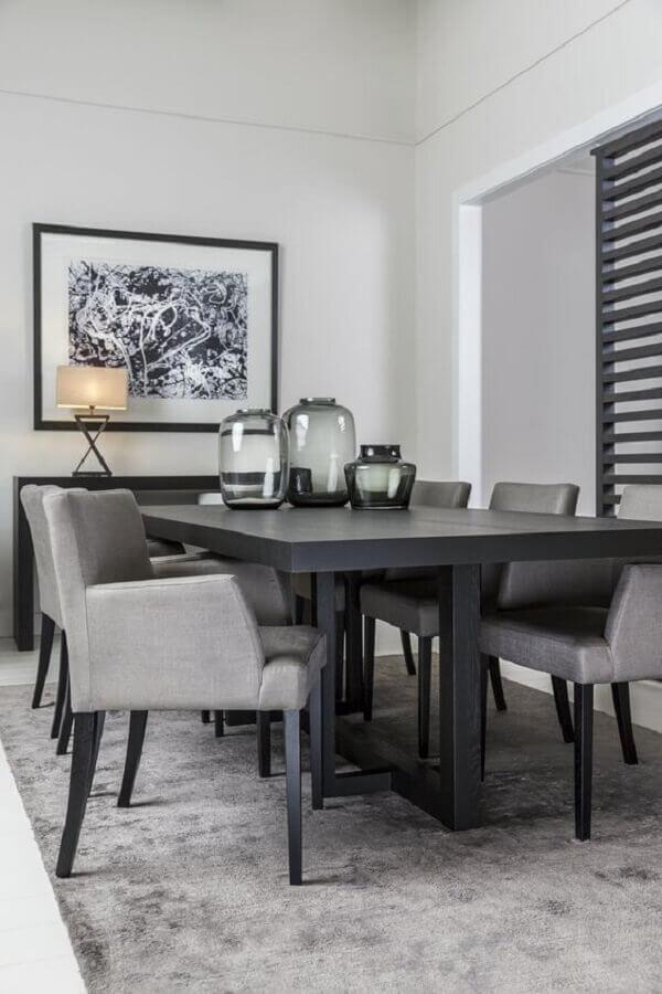 cadeiras para sala de jantar cinza Foto Arkpad