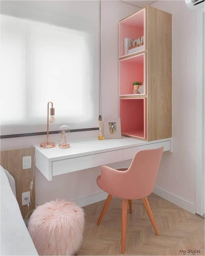 decoração clean com cadeira para quarto feminino rosa Foto MdeMulher