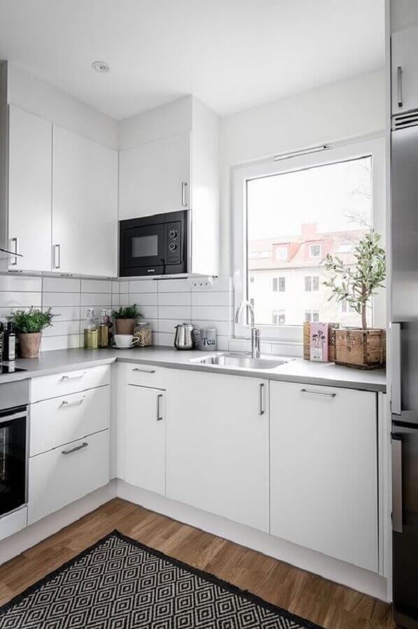 decoração clean para cozinha com balcão de canto Foto Pinterest