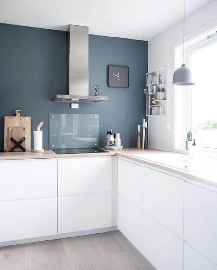 decoração clean para cozinha com balcão de canto branco Foto Hunker