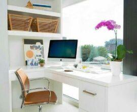 decoração clean para home office planejado de canto Foto Apartment Therapy