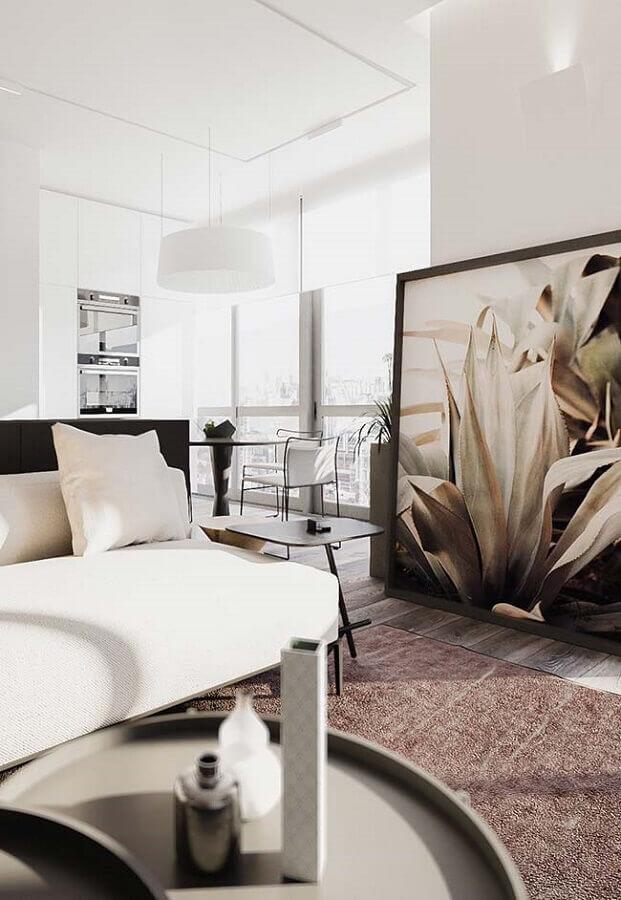 decoração moderna para sala de estar com quadro grande apoiado no chão Foto Architecture Art Designs