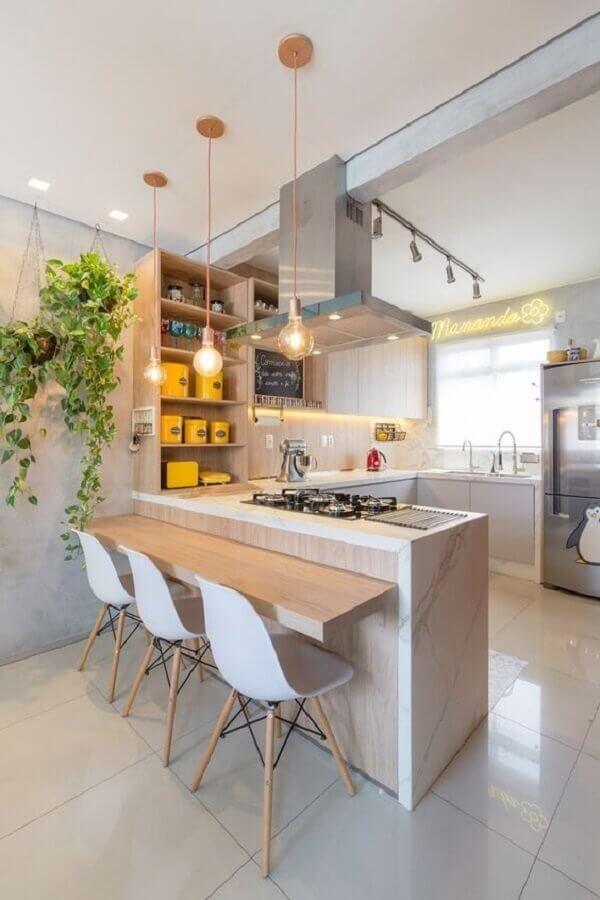 decoração com balcão de cozinha com pia e cooktop Foto Arkpad