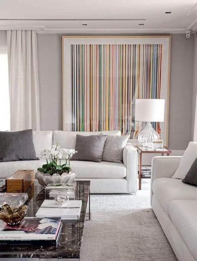 decoração com quadro grande para sala de estar cinza e branca Foto Pinterest