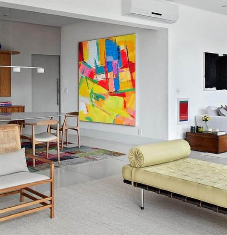 decoração com quadros grandes para sala de jantar integrada com sala de estar Foto CZ Art Design