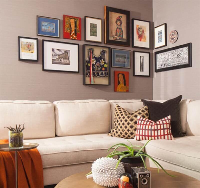decoração com quadros na parede da sala Foto Pinterest
