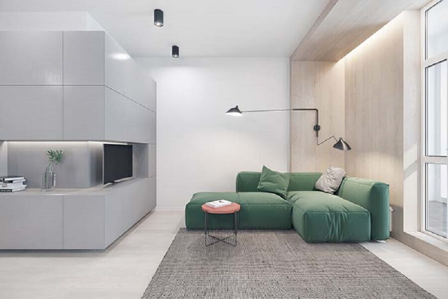 decoração contemporânea para sala de estar com luminária articulada de parede Foto Pinterest