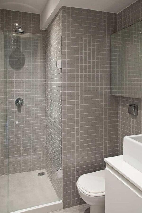 decoração de banheiro com revestimento cinza Foto Casa de Valentina