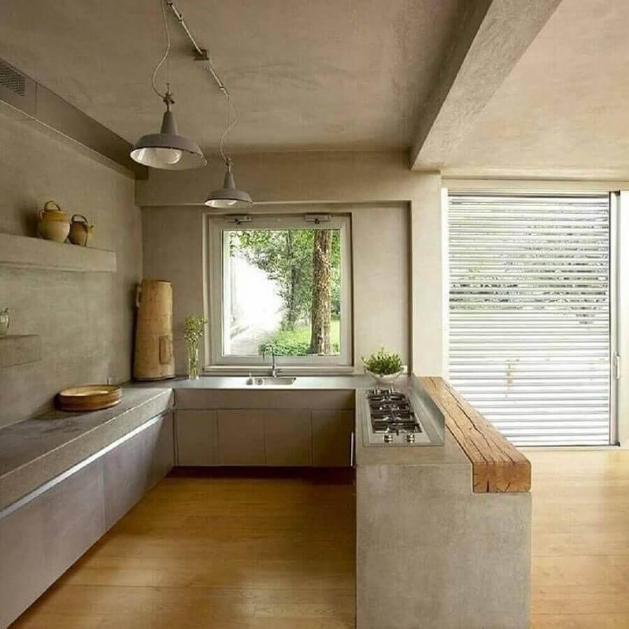 decoração de cozinha com balcão de concreto e madeira Foto Pinterest