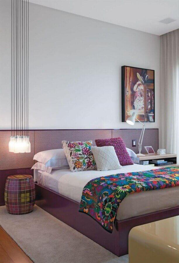 decoração de quarto de mulher moderno com cabeceira planejada Foto Pinterest