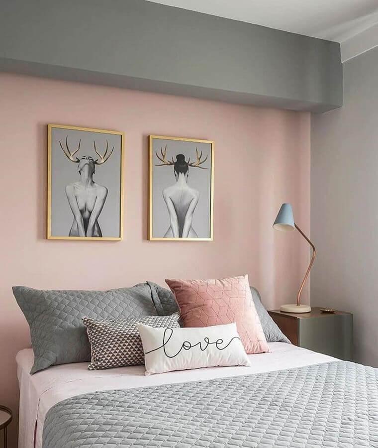 decoração de quarto para mulher cinza e rosa Foto Pinterest