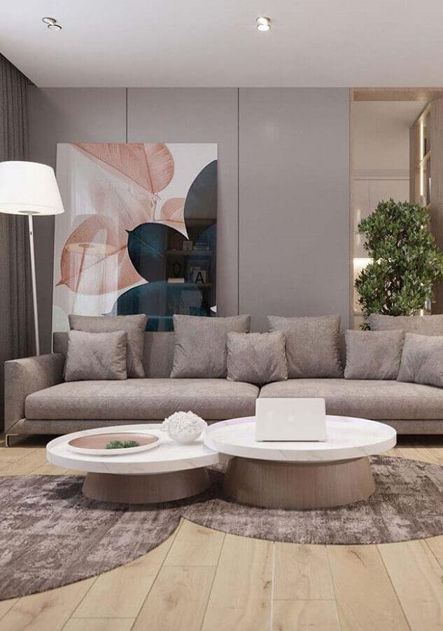 decoração de sala cinza moderna com quadro grande Foto Home Fashion Trend