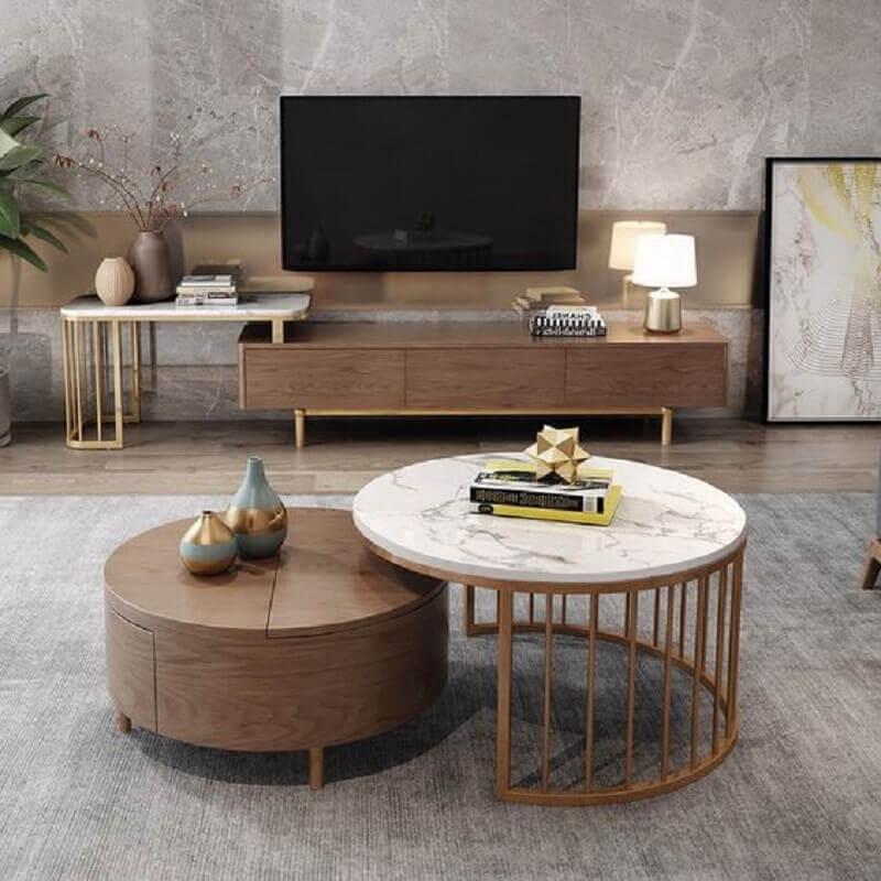 decoração de sala de TV com mesa de centro redonda Foto Pinterest