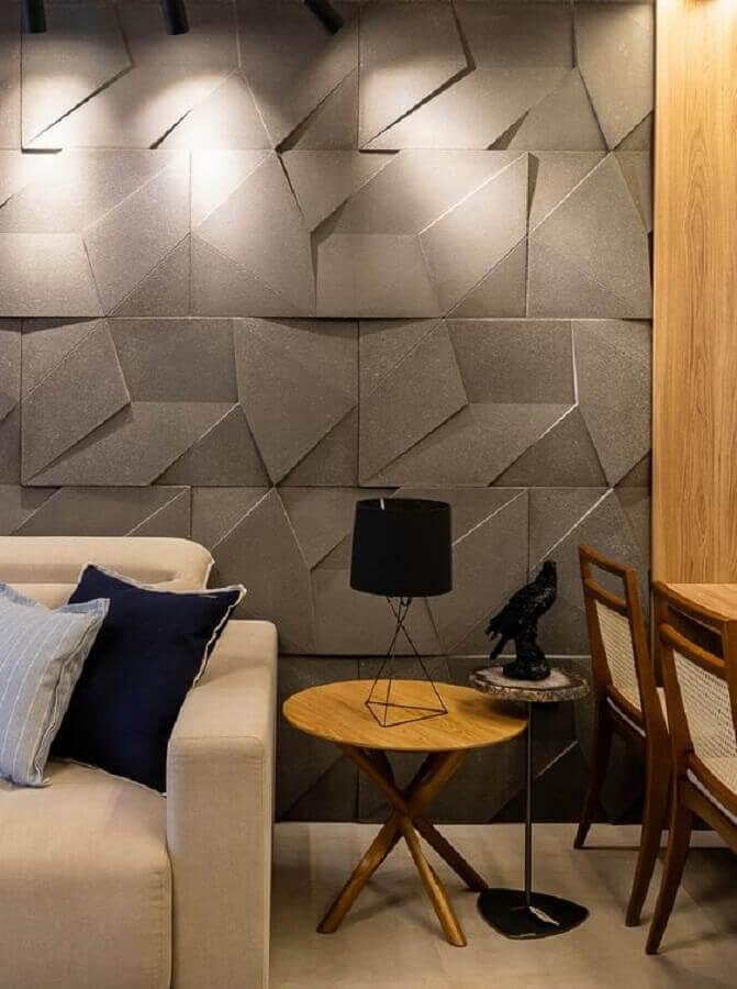 decoração de sala de estar moderna com revestimento 3D cinza Foto Castelatto Pisos e Revestimentos