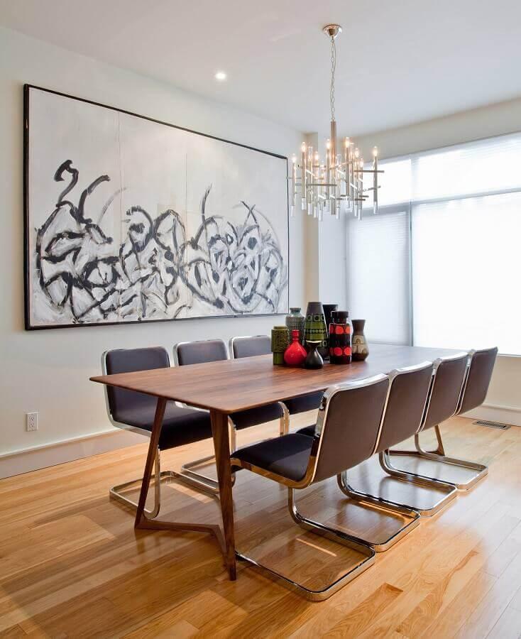 decoração de sala de jantar minimalista com quadro abstrato grande Foto Houzz