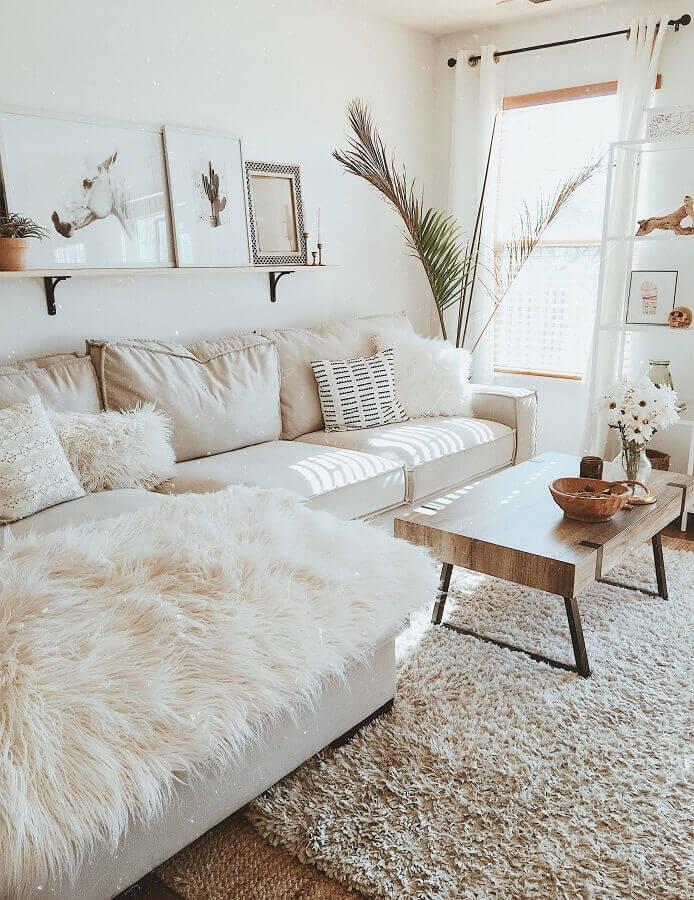 decoração estilo escandinavo com almofadas decorativas para sala bege Foto Love Homy