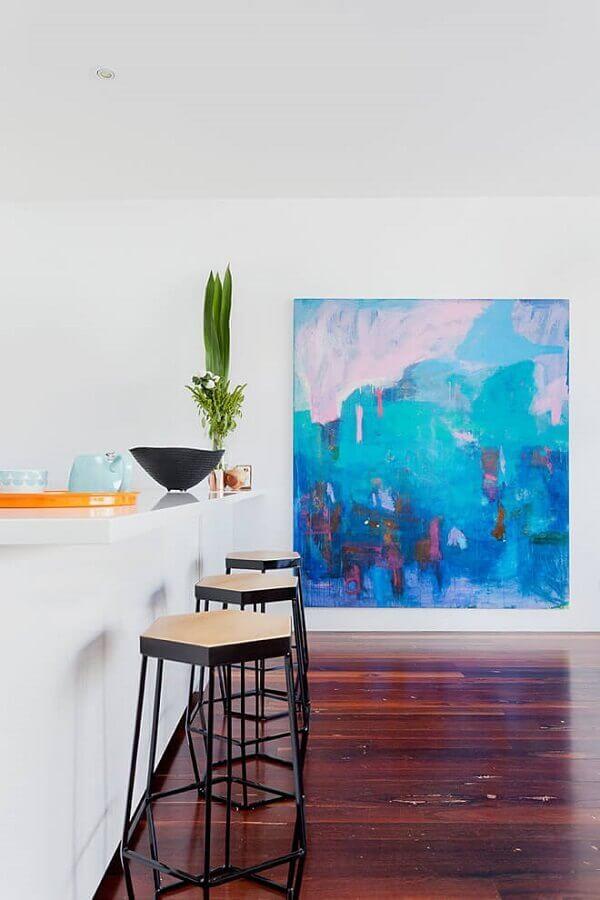 decoração minimalista com quadro abstrato grande Foto Pinterest