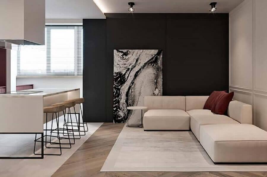 decoração minimalista com quadro grande para sala de estar integrada com a cozinha Foto Pinterest