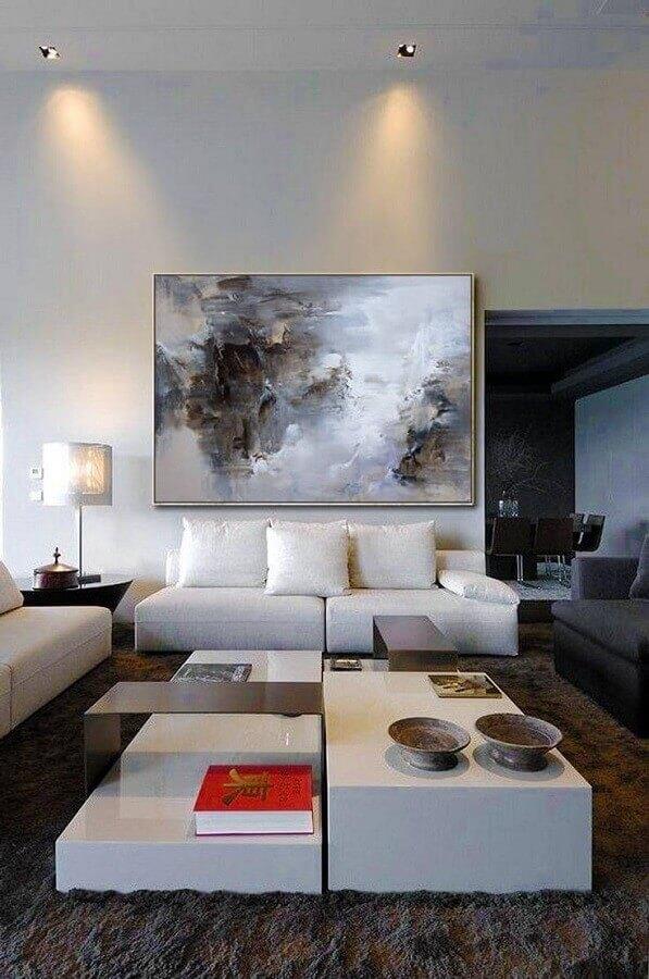 decoração moderna com quadro grande para sala branca Foto Pinterest