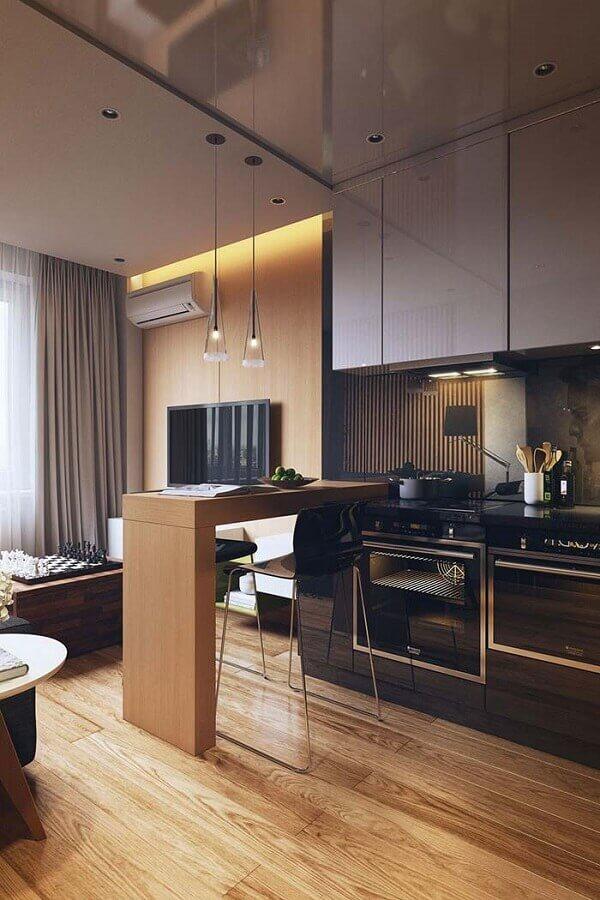 decoração moderna para cozinha com balcão de madeira Foto Behance