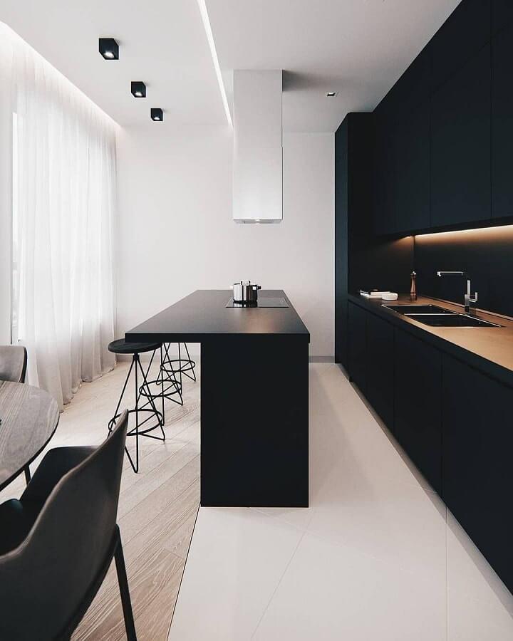 decoração moderna para cozinha minimalista preta Foto SweetHomee