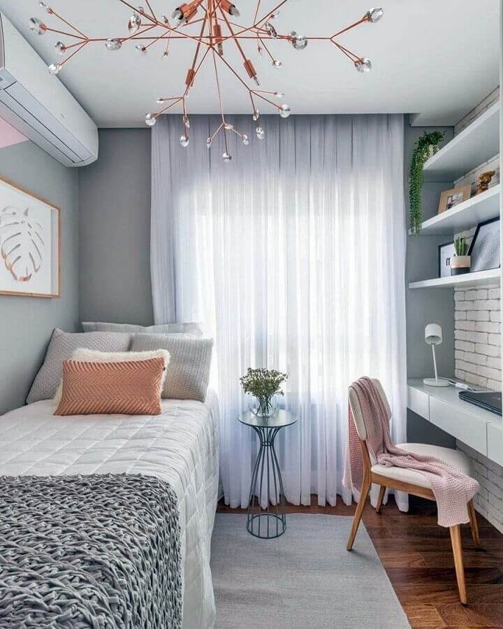 decoração moderna para quarto de mulher solteira cinze e rosa Foto Sua Decoração