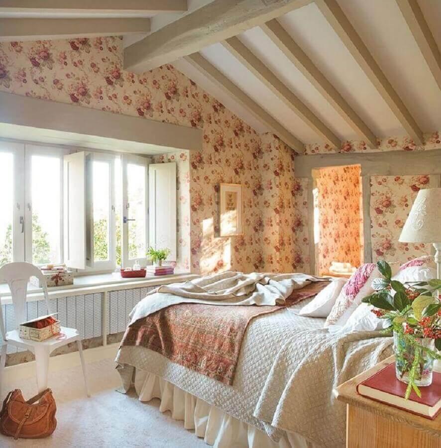 decoração romântica para quarto de mulher com papel de parede floral Foto Pinterest