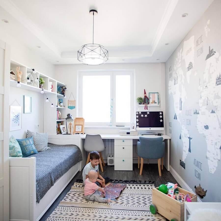 decoração simples com mesa de estudo para quarto de criança Foto Decoideas