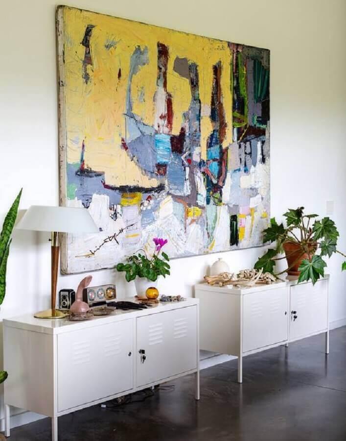 decoração simples com quadro abstrato grande Foto Pinterest