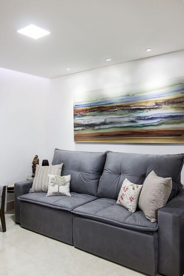 decoração simples com quadro grande para sala de estar Foto Isabela Basques