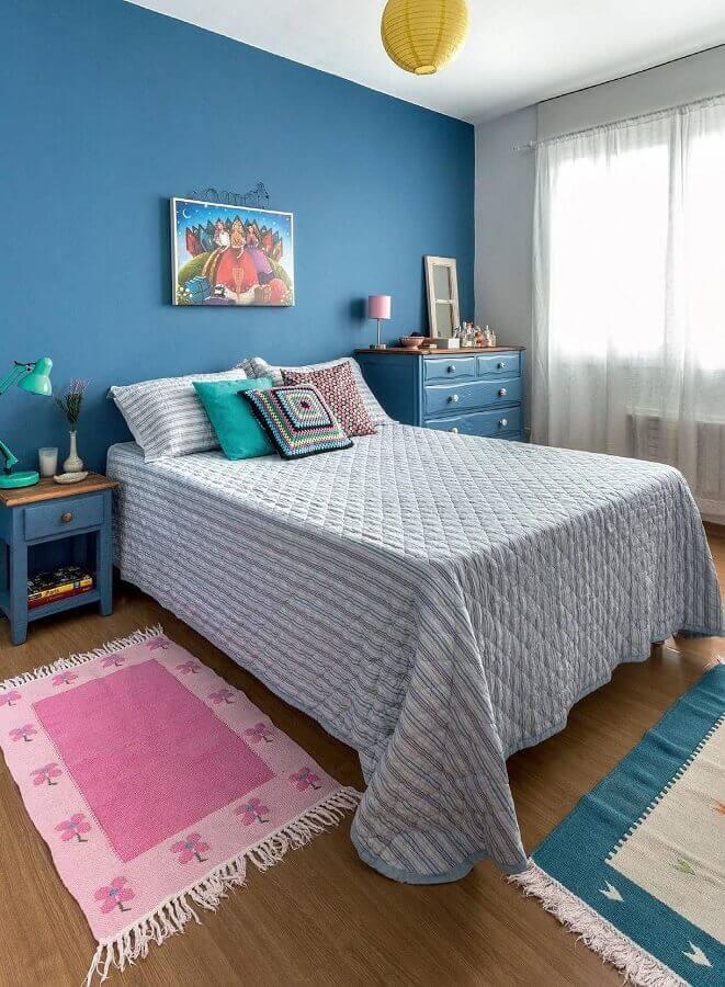 decoração simples para quarto de mulher azul e branco Foto Casa de Valentina