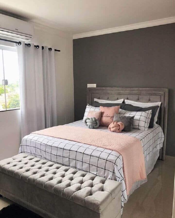 decoração simples para quarto de mulher cinza Foto Pinterest