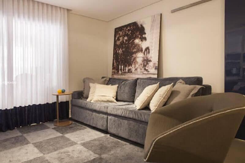 decoração simples para sala de estar com quadro grande Foto Carolina Vilela