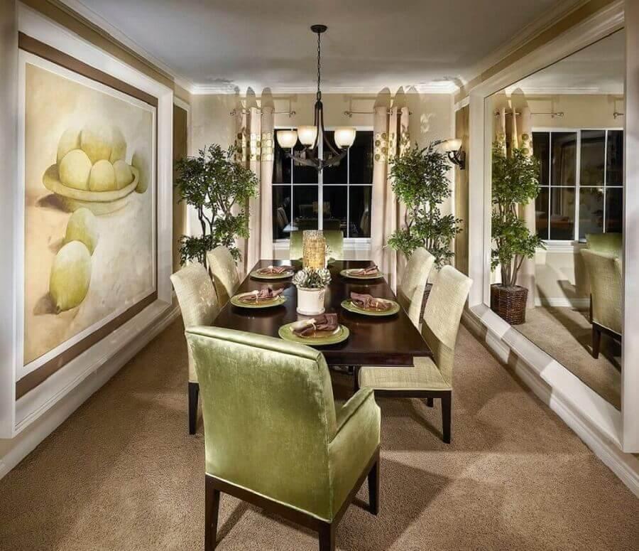 decoração sofisticada com quadros grandes para sala de jantar Foto Pinterest