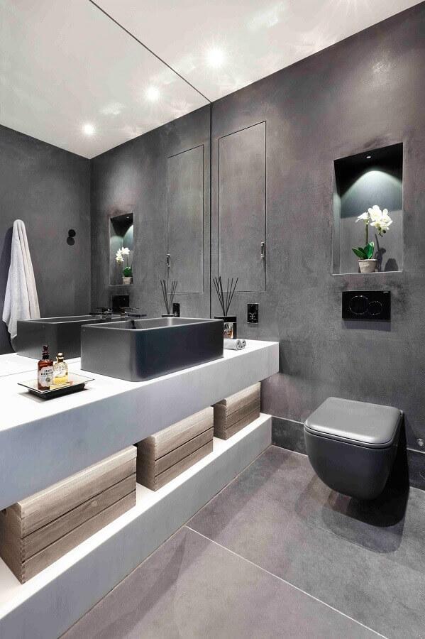 lavabo moderno decorado com revestimento cerâmico cinza Foto Houzz