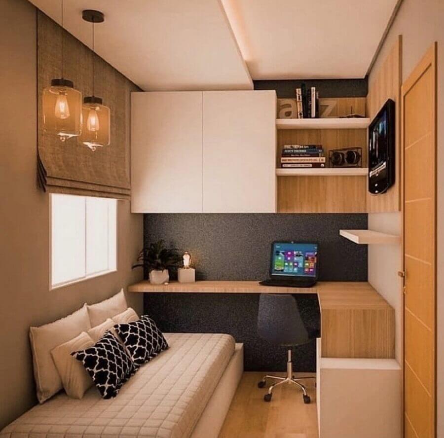 mesa de canto para quarto de solteiro decorado com armário aéreo Foto Pinterest