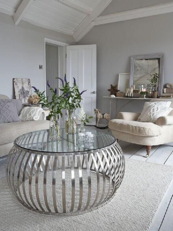 mesa de centro redonda de vidro para decoração de sala cinza sofisticada Foto Pinterest