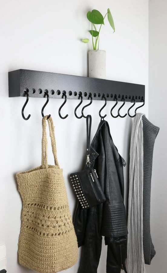 modelo de cabideiro de parede para roupas e bolsas Foto Etsy
