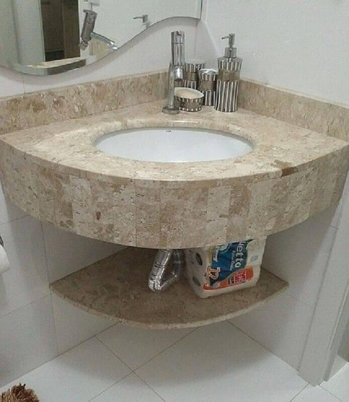 modelo simples de balcão de canto para banheiro pequeno Foto Pinterest