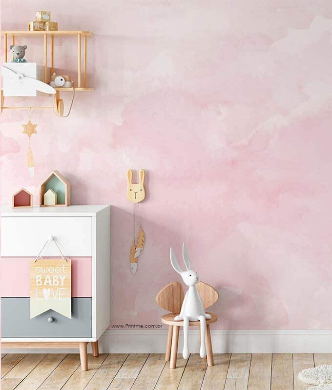 papel de parede para quarto feminino infantil rosa Foto Pinterest