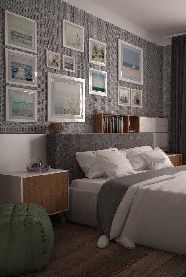 parede com quadros para decoração de quarto de casal cinza Foto Pinterest